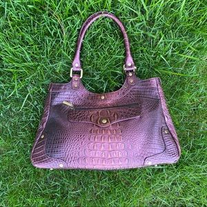 THE FIND EMBOSSED VINYL HANDBAG